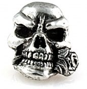 SMUKRP Rose Skull Bead Pewter
